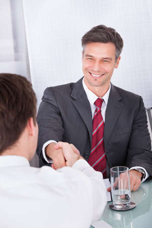 Portrait Of Happy Mature Businessman Conducting Interview In Office photo
