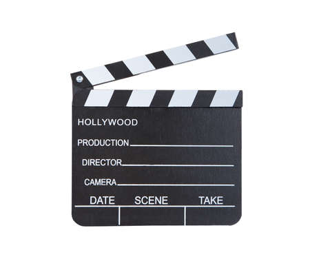 clapper board: Close-up of a classical movie clapper ready to record a new production  with blank spaces for director  camera  date  scene and take  isolated on white background