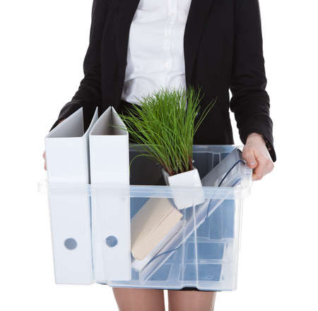 Business Woman Holding Basket Over White Background photo