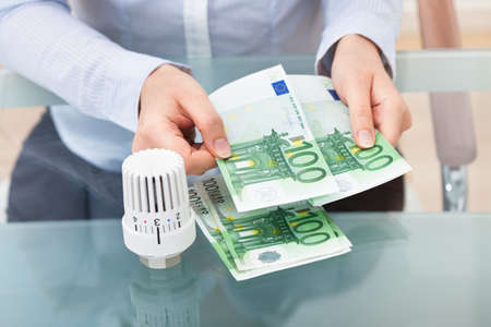 save heating costs: Close-up Of Businessperson With Valve Counting Euro Banknote At Desk