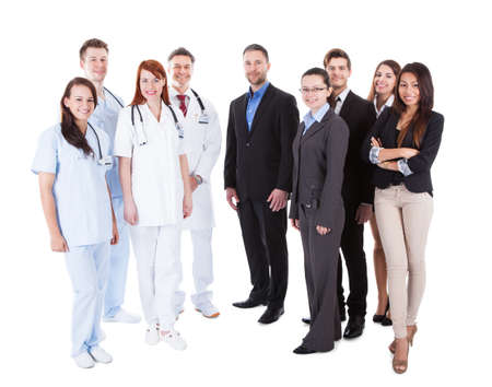 Large ground of doctors and managers over white background photo