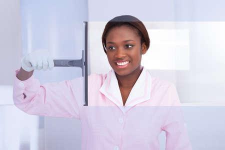 domestic: Sonriendo vidrio limpieza ama de llaves afroamericana en el hotel