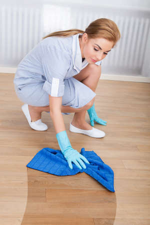 housewife gloves: Portrait Of Young Maid Cleaning Hardwood Floor With Cloth