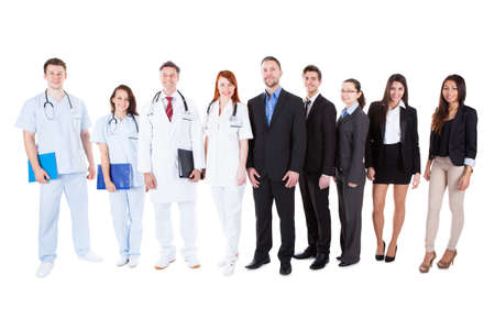 Large ground of doctors and managers over white background Stock Photo