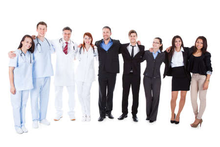 community work: Large ground of doctors and managers over white background Stock Photo