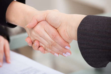Close-up Of Two Businesspeople Shaking Hands In Office
