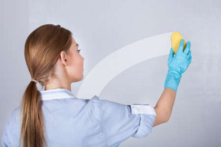 handglove: Rear View Of Young Maid Cleaning Glass With Sponge Stock Photo