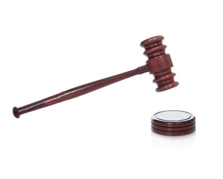 condemnation: Wooden gavel or mallet as used by a judge in a courtroom or an auctioneer isolated on white
