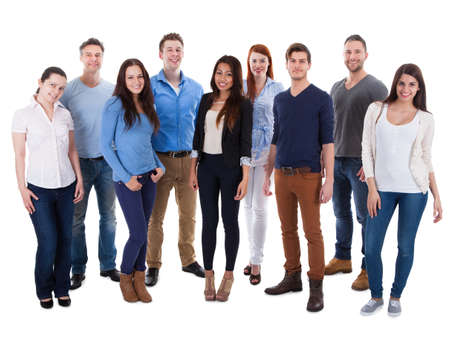 motivated: Group of diverse people isolated over white background