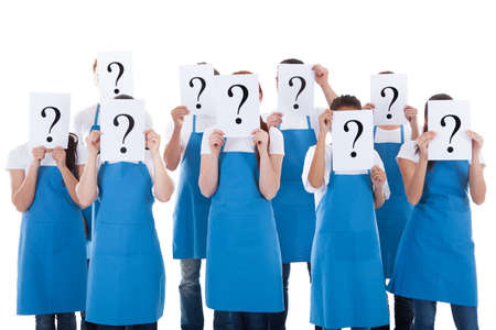 Group of cleaners showing question sign above faces. Isolated on white photo