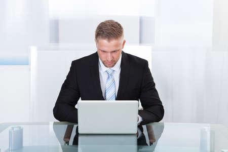 perito: Foto de hombre de negocios trabajando en la computadora port�til en la oficina Foto de archivo