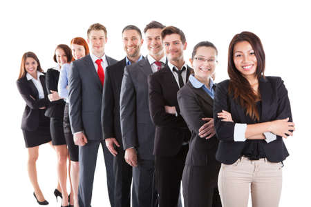 standing in line: Business people standing in row over white background Stock Photo
