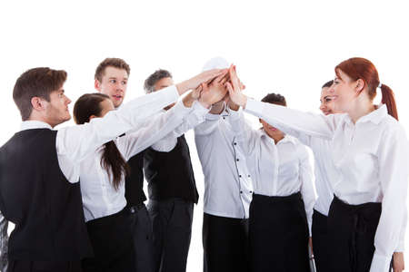 Catering staff making high five gesture. Isolated on white Stock Photo