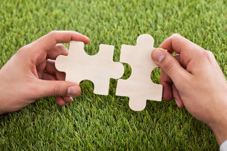 two pieces: Cropped image of hands connecting two puzzle pieces on grass Stock Photo