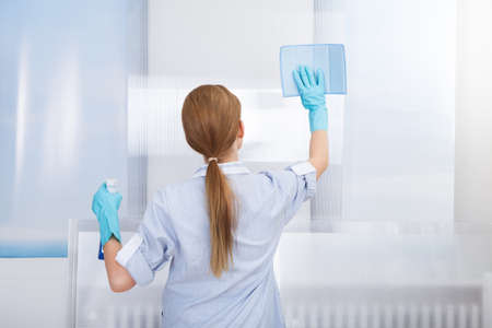Portrait Of Happy Young Maid Cleaning Glass With Sponge photo