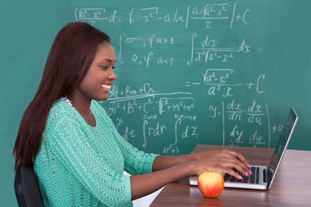 Side view of African American teacher using laptop at classroom desk photo