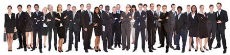 united people: Panoramic shot of confident businesspeople standing against white background
