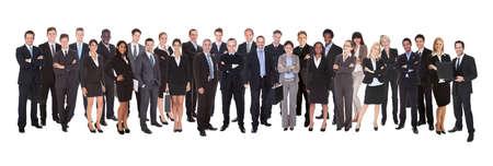 fila de personas: La gente de negocios confía en pie contra el fondo blanco