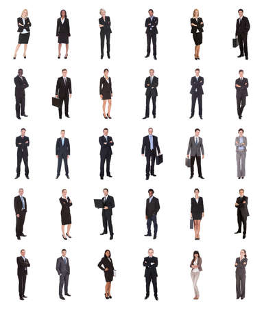 Collage of diverse businesspeople standing over white background photo