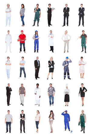 Collage of multiethnic people with various occupations standing against white background photo