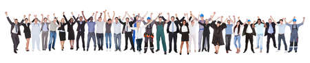 panoramic business: Full length of excited people with different occupations celebrating success over white background Stock Photo