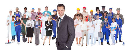 standing against: Full length of people with different occupations standing against white background