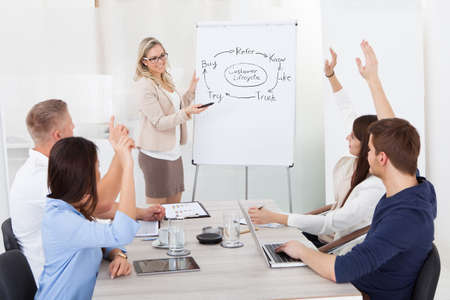 Businesspeople with hands raised answering businesswoman in meeting at office