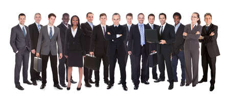 panoramic business: Confident business people standing against white background Stock Photo