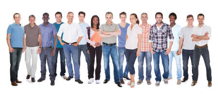 Diverse people in casuals standing against white background photo