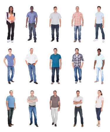 casuals: Collage of multiethnic people in casuals over white background Stock Photo