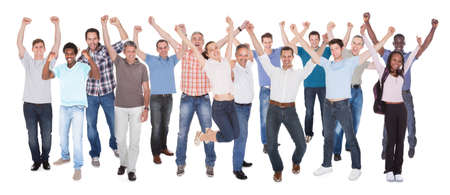 casuals: Full length portrait of diverse people in casuals celebrating success against white background