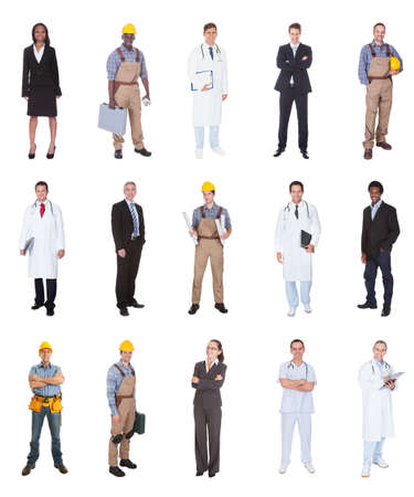 various occupations: Collage of multiethnic people with various occupations standing against white background