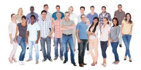 Diverse people in casuals standing against white background Stock Photo