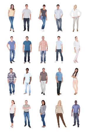 gl�ckliche menschen: Collage aus multiethnischen Menschen in Casuals auf wei�em Hintergrund