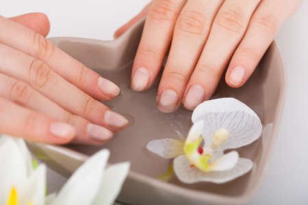 Cropped image of woman soaking hands in water at beauty salon photo