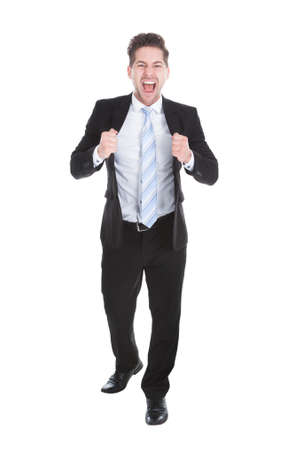 Full length portrait of happy businessman isolated over white  photo