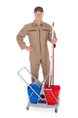 mop floor: Full length portrait of confident cleaner showing thumbs up over white