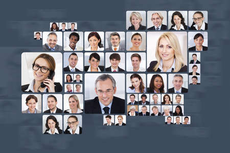 Collage of multiethnic business people over white background photo