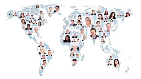 Collage of multiethnic business people on world map representing global business. Source of reference map: http:visibleearth.nasa.govview.php?id=74518. Illustration was created on the 15th of May, 2014 using Photoshop CS5. 1 layer of data was used for  illustration