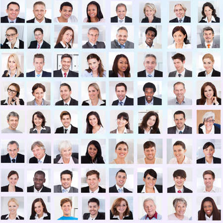 Collage of diverse multiethnic business people smiling Stock Photo