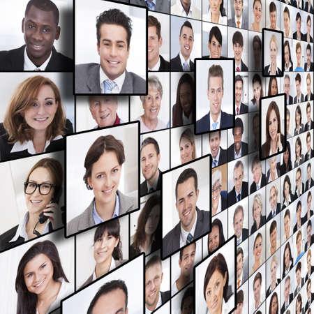 mixed age range: El marco completo tir� de la gente de negocios collage