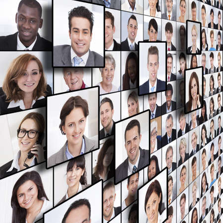 full frame: Full frame shot of business people collage Stock Photo