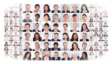 multinational: Collage of multiethnic business people over white background Stock Photo