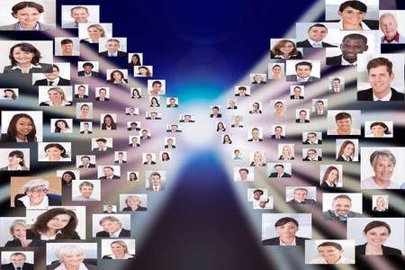 mixed age range: Collage de la gente de negocios multi�tnica que representan la globalizaci�n Foto de archivo