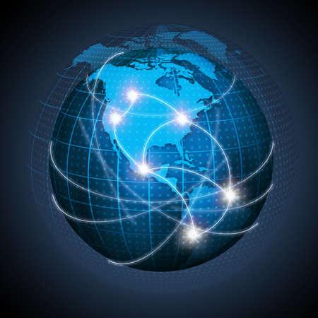 continente americano: América del Norte y América del Sur conectados en el globo que representa la globalización. Foto de archivo