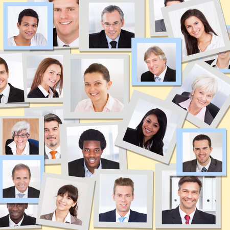 mixed age range: Collage of diverse multiethnic business people smiling Stock Photo