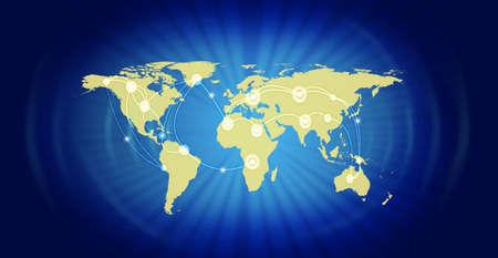 青い背景に対してグローバル ビジネスを表す世界地図のイラスト。参照の地図の源: http:visibleearth.nasa.govview.php?id=74518。図は、Photoshop CS5 を使用し
