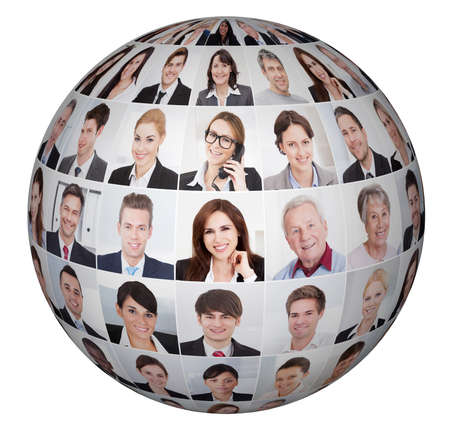 Collage of diverse business people in sphere over white background photo