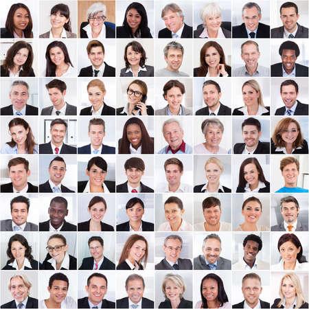 femmes souriantes: Collage photo de gens d'affaires multiethniques sourire Banque d'images