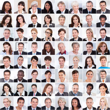 business smile: Photo Collage de gente de negocios multi�tnica sonriendo Foto de archivo